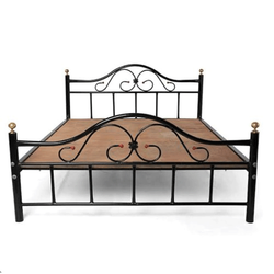 Black Stainless Steel Double Bed, Size: 6x6 Feet
