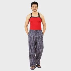 Full Lenght Casual Wear Mens Cotton Check Pajama