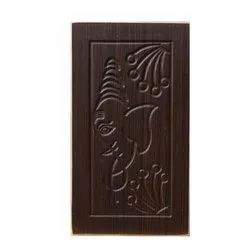 Brown Ganesh Engraved Wooden Door