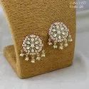 Antique Kundan Pearl Stud Earring