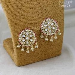 b27a0c6e7 Indo Western Earrings - Antique Kundan Pearl Stud Earring Exporter ...