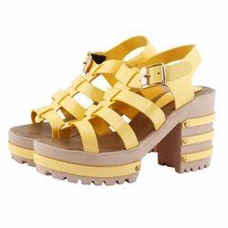 Shofiee Yellow Women Stylish Heel-king Block Heel Party Wear & Casual Wedges