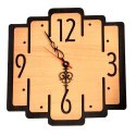 Brown Analog Decorative Square Wooden Wall Clock, For Home