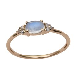 Solitaire Accents Moonstone Gemstone Diamond 9k Yellow Gold Women Ring