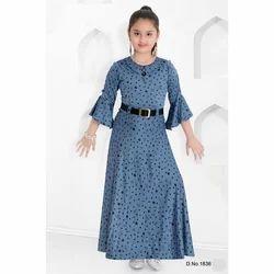 Blue Round Neck Gown