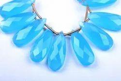 Aqua Blue Chalcedony Quartz Pear Beads