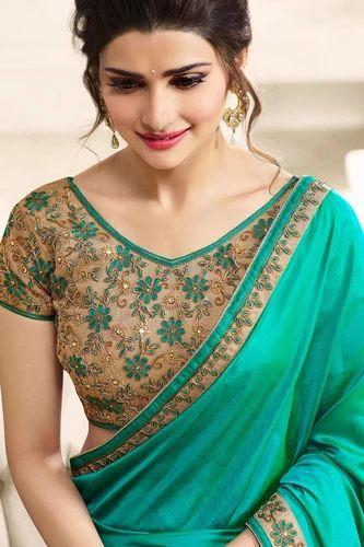 46d0f63dd61bb Turquoise Silk Bollywood Saree Indian Ethnic Pakistani Designer Sari  Wedding Party Wear Saree