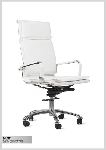 Cube White Sleek Comfort High Back Leatherette Chair