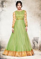 15bc6f180 Green Semi-Stitched Party Wear Heavy Anarkali Suits
