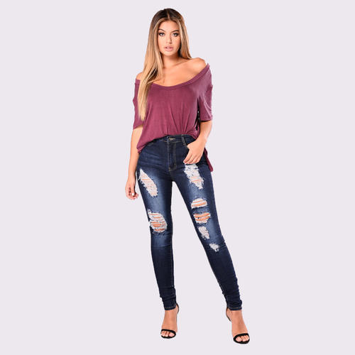Stretchable Ladies Ripped Jeans, Waist Size: 26.0