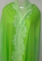 Lace Trimmed Fine Wool Cashmere Ombre Dyed Stole