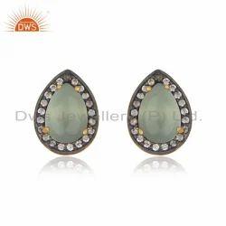 Gold Plated Designer Silver Aqua Chalcedony Cz Gemstone Stud Earrings