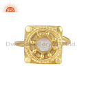 Crystal Quartz Gemstone Vintage Gold Plated Designer Silver Rings