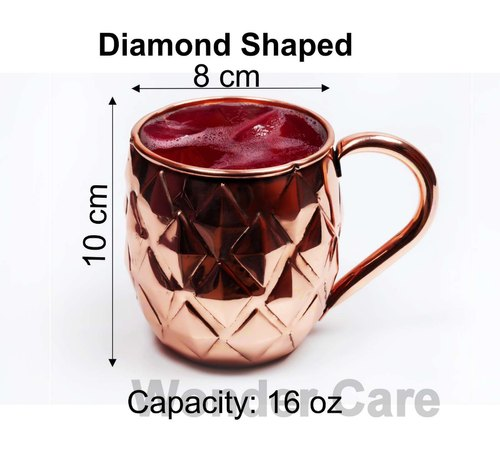 100% Copper Premium Moscow Mule Cup, Solid Copper Classic Diamond Shaped Cup