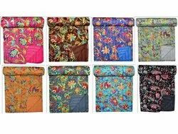Floral Printed Cotton Kantha Quilt