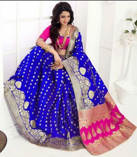 b3c326e19c0f9 Banarasi Silk Wedding Wear   VIP Lounge Polycotton Blue And Pink Saree