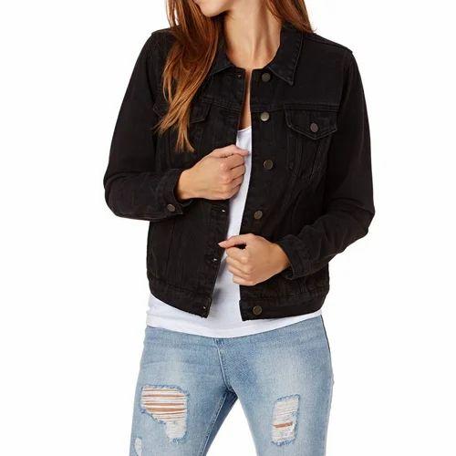Women Black Denim Jacket, महिलाओं की डेनिम ...
