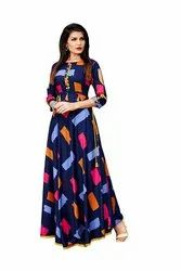 Ladies Rayon Designer Blue Gown