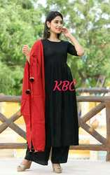 RAYON  KURTI WITH PALAZZO AND RED DUPTTA