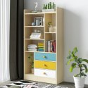 Kawachi Wooden Bookshelf  with Open Storage and Drawers for Home Office KW14