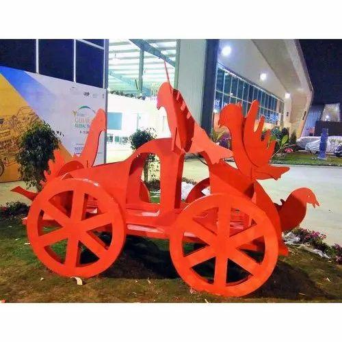 Plain Orange Fiber Decorative Sculpture