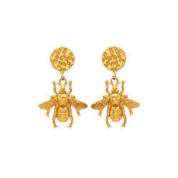 Contempary Look Micron Gold Plated Insect Mix Hammered Disc Gorgeous Earrings