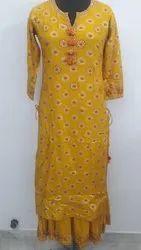 Indian Handmade cotton Kurti with palazzo Women Dress