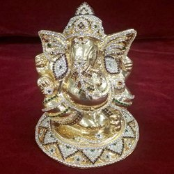 Sliver Polished Silver Stone Ganesh Ji Statue, Packaging Type: Packaging, For Home, Temple