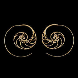 Gold Plated Hoop Design Minimalist Brass Earrings