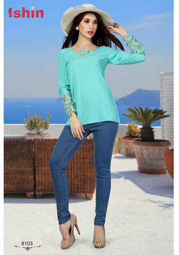 bed5649eb1cc8 Turquoise Georgette And Croatia Blue Women Western Top