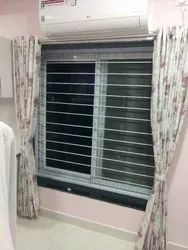uPVC Sliding Window with Mesh with Grilled Powder Coating