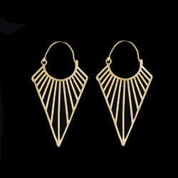 Indian Fashion Minimalist Brass Hoop Earrings for Girls
