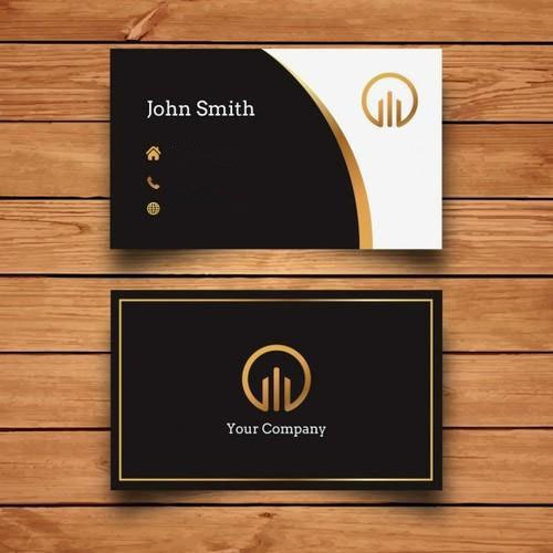 Corporate Letterhead At Rs 3 Piece: Black, White And Golden Rectangle Digital Printed Visiting