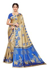 Khadi Cotton Silk Printed Saree with Blouse