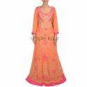 Woman Orange Gotta Embroidered Gown