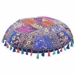BLUE Cotton Round Floor Cushions 32 Inches Indian Vintage Embroidered Home Decor