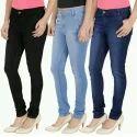 Plain Blue Ladies Denim Jeans, Waist Size: 28 And 32