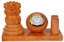 Wooden Ashoka Stambh With Clock