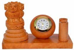 Wooden Ashoka Stambh With Clock