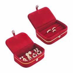 Red Velvet Gold Jewellery Box (For Pendent/Ear Rings/Finger Rings) - 02 Pcs Set