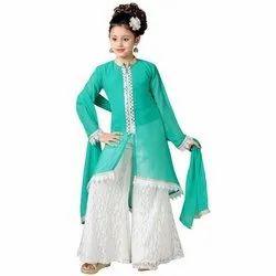 Green And White Festive Wear Kids Fancy Salwar Suit