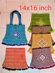 Cotton Handled Embroidery Pattern Ladies Hand Bag, Size: 14 X16 Inch