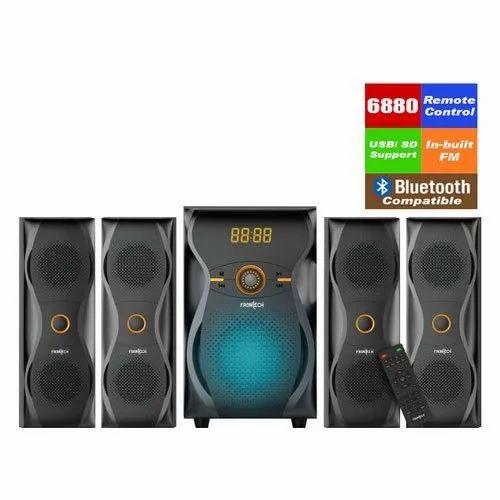 Black Plastic Frontech JIL-3989 4.1 Multimedia Speaker, 6880 Watt, Desktop & Laptop
