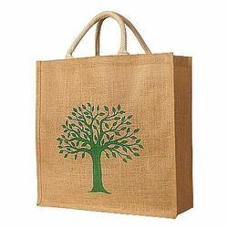Brown And Green Printed Jute Promotional Bags