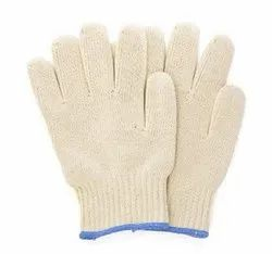 Full Finger White Cotton Knitted Hand Gloves - 40gm, Size: 9.5 Inch