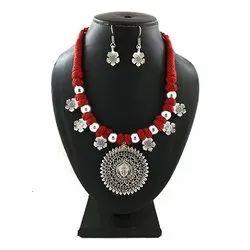 Oxidized German Silver Thread Necklace Set