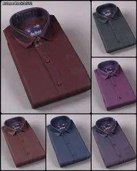 Cotton Multicolor Luis London Men Full Sleeve Plain Shirt, Handwash