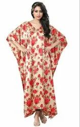 Japan Satin Silk Floral Digital Printed Kaftan for Women