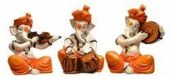 Karigaari India Handcrafted Polyresine Ganesha Playing Different Instruments Sculpture Idol