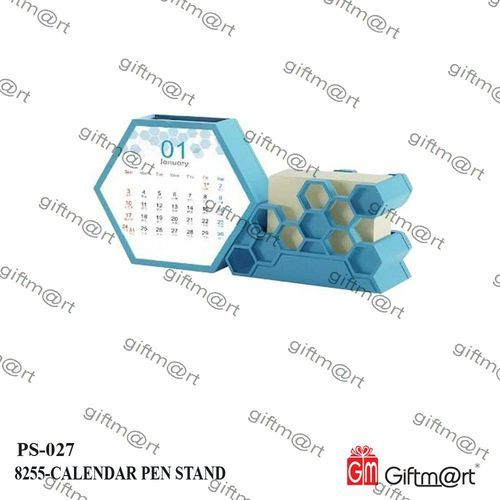 Blue Plastic Pens Stand with Calendar